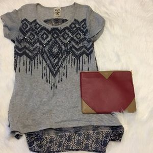 Blue and gray top